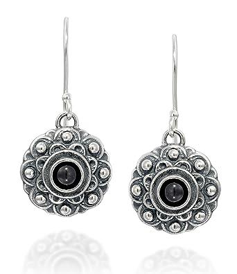 1dfe18bd5 Amazon.com: Antique Style Black Onyx Gemstone Flower Dangle Earrings in 925 Sterling  Silver Elegant Women's Jewelry: Jewelry