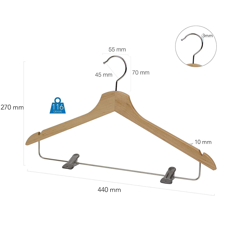 440 x 270 x 10 mm Anzugb/ügel Naturel 360/° drehbarer Haken 4LABEL Kleiderb/ügel aus Erlenholz mit Rockkerben und Metall-Hosensteg Hotel Qualit/ät 8 St/ück