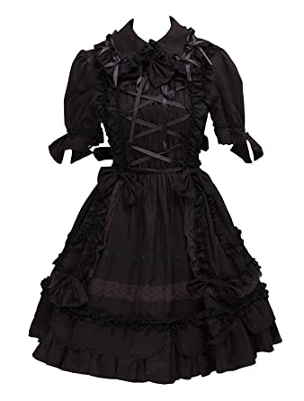 2669d06a198 Ainclu Black Gothic Lolita Dress at Amazon Women s Clothing store