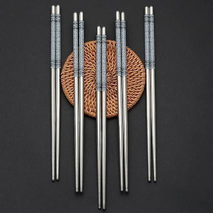 10 pares de palillos de acero inoxidable - reutilizables y aptos para el lavavajillas - cubiertos asiáticos ecológicos - porcelana e hilo azul y ...