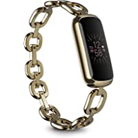 Fitbit Luxe Special Edition Fitness and Wellness Tracker, Gorjana Soft Gold Stainless Steel Parker Link Bracelet, One…