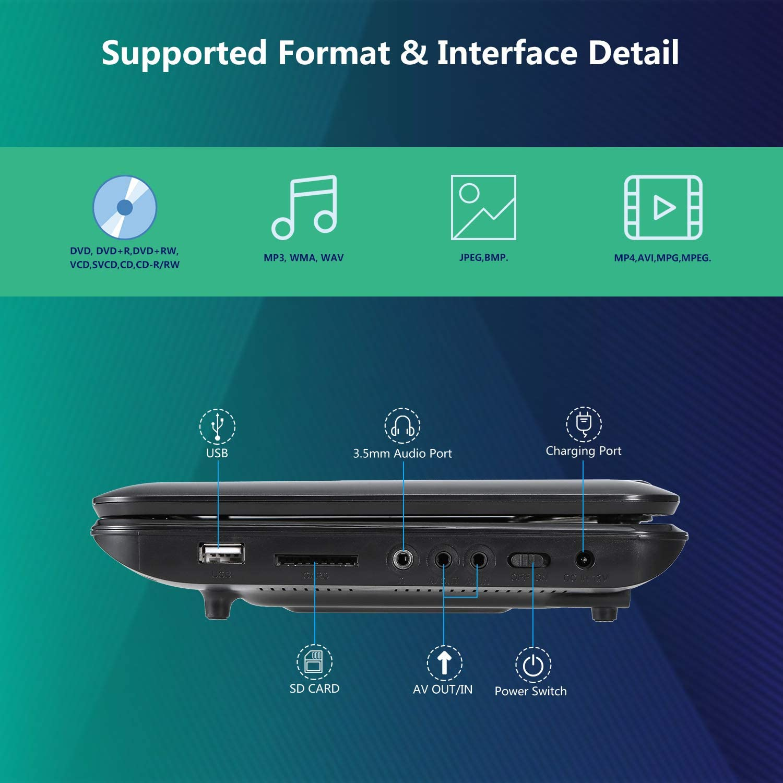 Xbocat Reproductor de DVD portátil de 10.5 Pulgadas con Pantalla ...