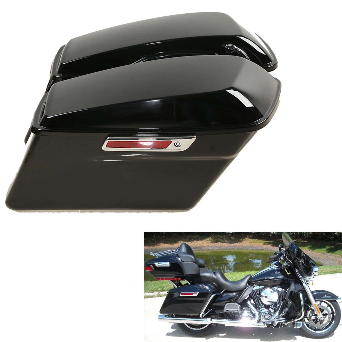 TCMT Motorcycles Black Hard Saddlebags + Latch Key Lid Fits For Harley Street Road Glide Road King Electra Glide Ultra-Classic FLHR FLHX 2014-2019