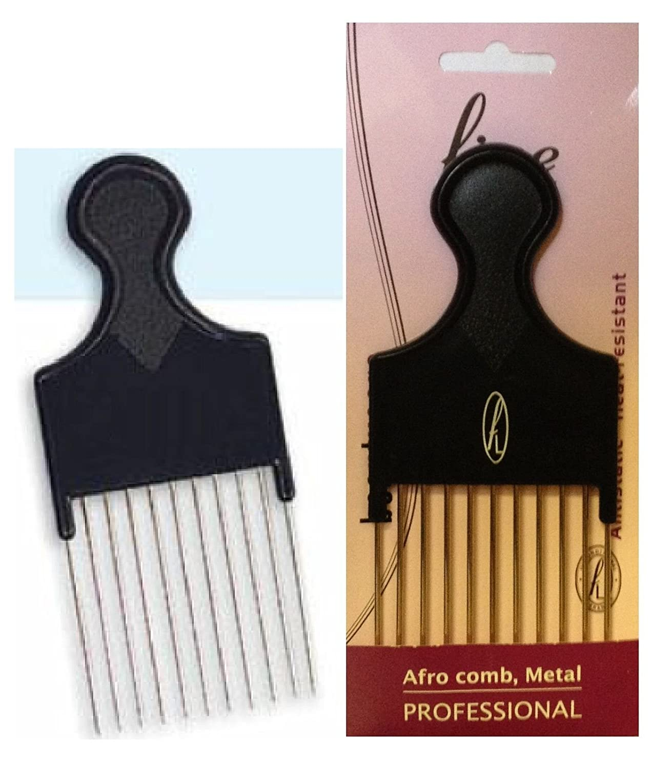 Afro Detangling Comb with Long & Wide Metal Teeth (108-01) Fine Lines (UK) Ltd