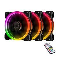 EasyDiy RGB Ventole ultra silenziose per case 120 mm, con LED, dissipatori di calore e radiatori per CPU 3 Set
