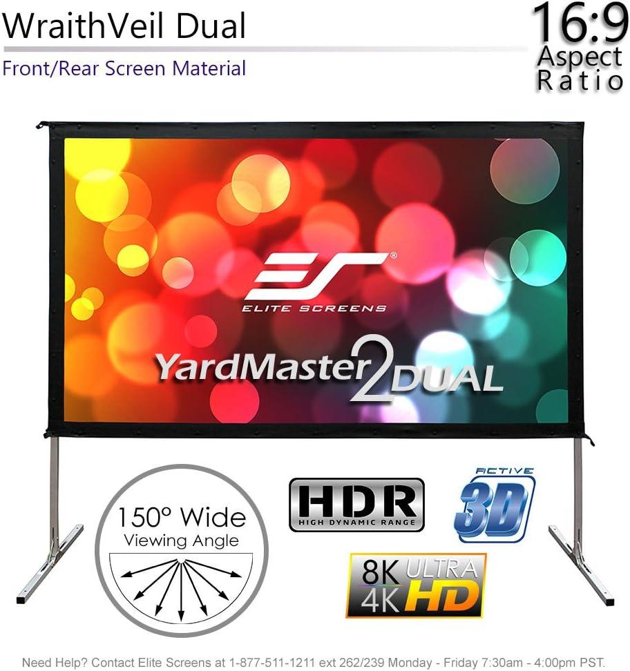Elite Screens OMS100H2-DUAL Mobile Garten Leinwand Yard Master 2 Dual 222 Outdoor Projection Screen schwarz