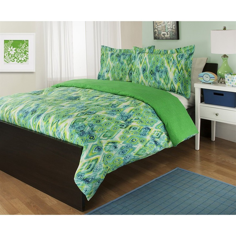 Royal 3 Piece Full Queen Lime Green Comforter Set, Pretty Reversible Bedding, Tropicana Abstract Diamond Design Allover, Cool Blues, Aqua And Teal Green, Beautiful Vibrant Colors! by Royal