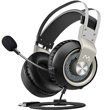 Mpow Auriculares Gaming USB para PC, 7.1 Sonido Estéreo, Micrófono de Cancelaciónd de Ruido