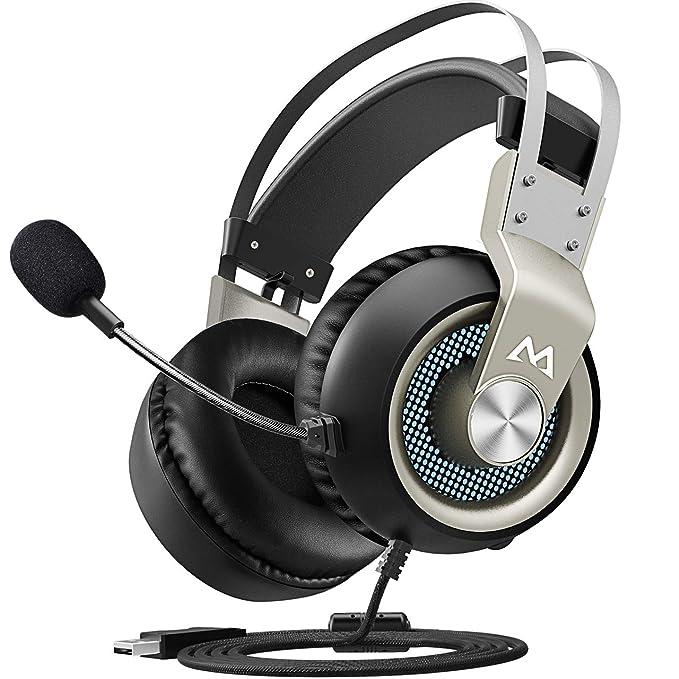 Mpow Auriculares Gaming USB para PC, 7.1 Sonido Estéreo, Micrófono de Cancelaciónd de Ruido, para Juegos PC PS4 Xbox One Ninten Switch, Cable 2.2m