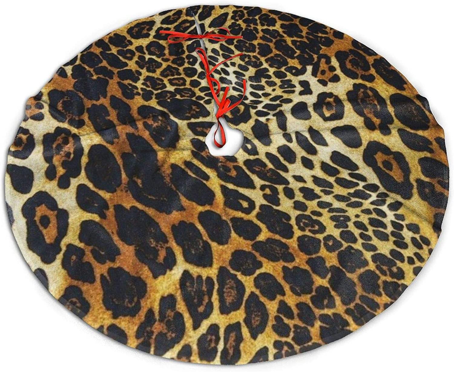 "Boeduc Merry Christmas Tree Skirt for Xmas Holiday Party Supplies Large Tree Mat Decor, Halloween Ornaments 36"" - Leopard Print"