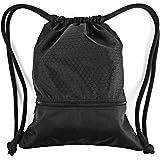 Zenwow, sacca sport per palestra impermeabile, borsa zaino per educazione fisica, nuoto, con grande tasca con zip per adulti e bambini, nero