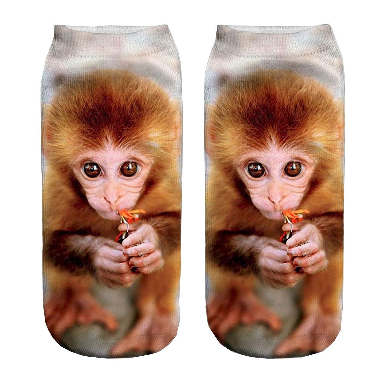 Chocky 3d Print Little Monkey Socks Women Casual Low Cut Ankle Socks