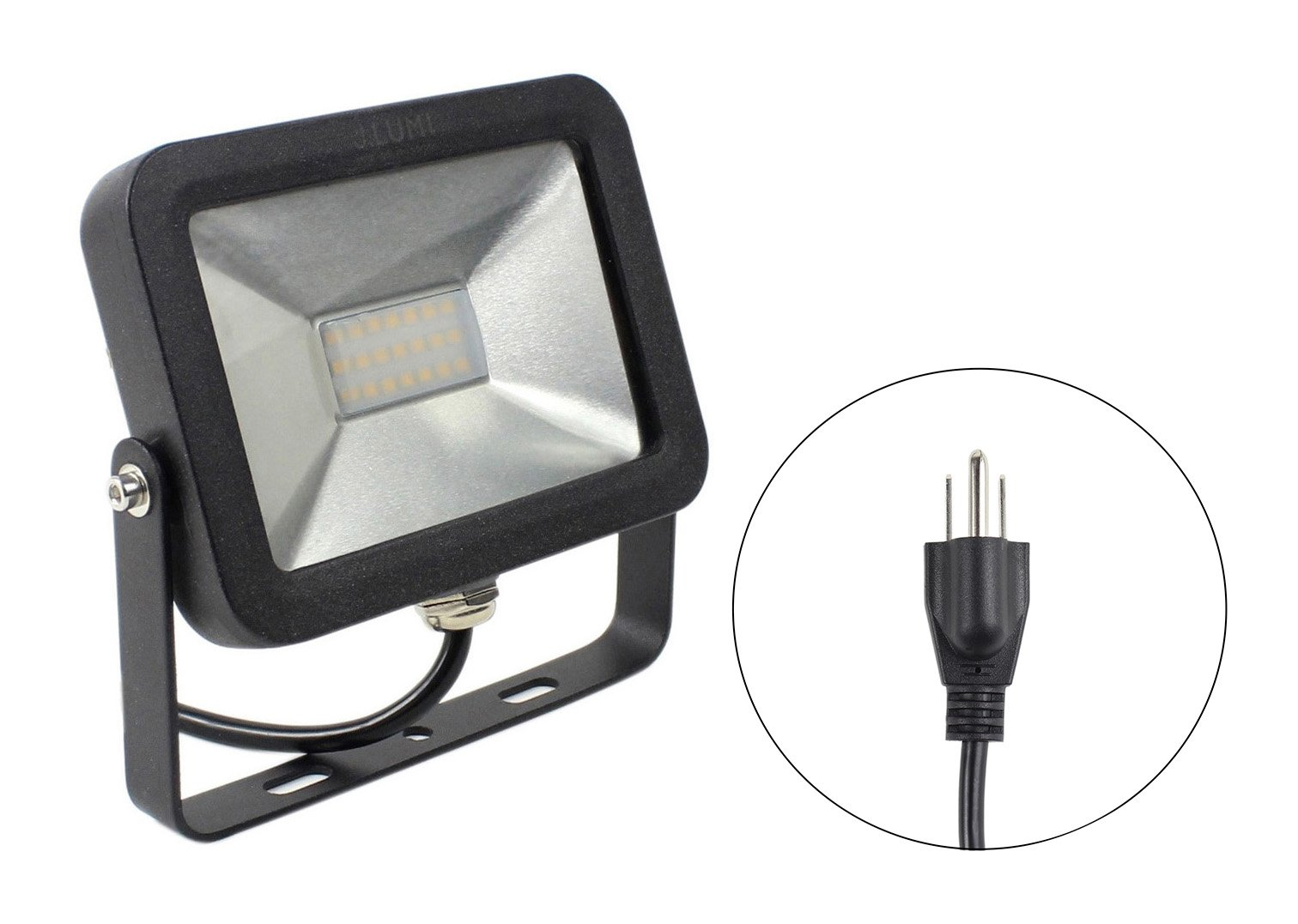 J.LUMI FLS0010 LED Flood Light 10W, New Generation Flood Light, 75W Halogen Replacement, AC 120V, 3000K Warm White, 3-ft Cord with 3 Prong Power Plug (UL listed)