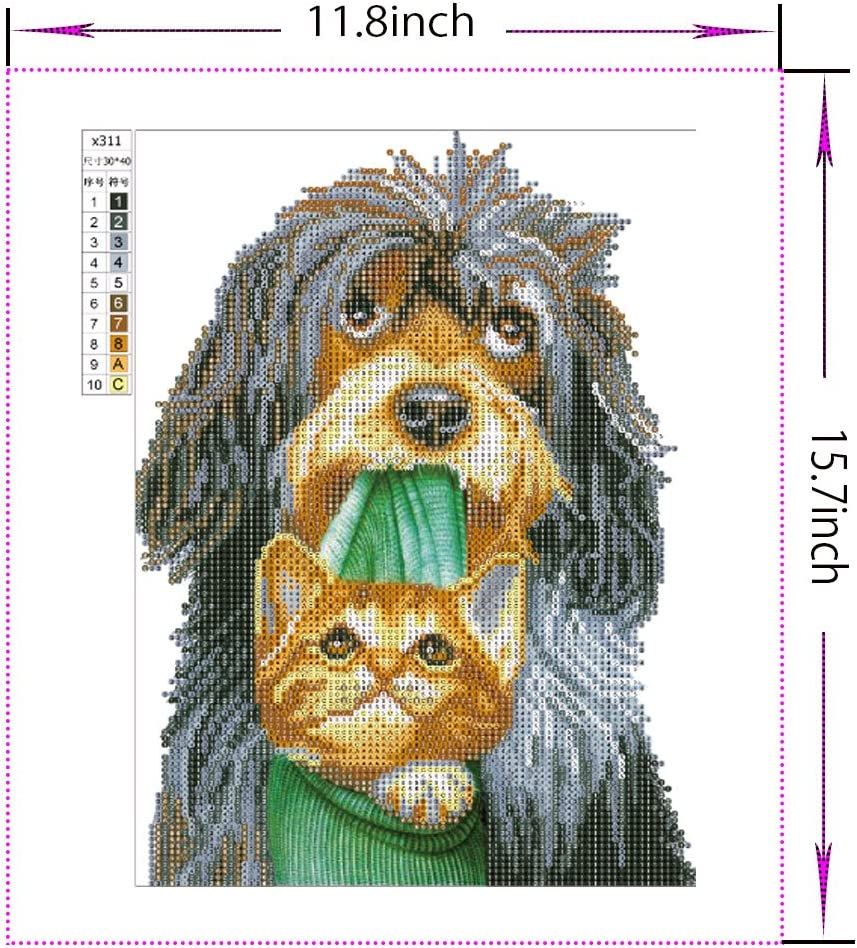 1 11.8 40cm Diamond Painting Kits,VLikeze Astory DIY 5d Diamond Painting Kits Rhinestone Crystal Embroidery Pictures Cross Stitch Art Craft for Home Decor Partial Drill Dog and Cat