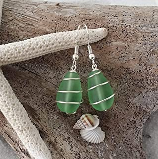 """product image for Handmade jewelry from Hawaii, coiled wire peridot green sea glass earrings,""""August Birthstone"""", (Hawaii Gift Wrapped, Customizable Gift Message)"""