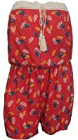 eVogues Plus size Sleeveless Romper Coral Floral Print