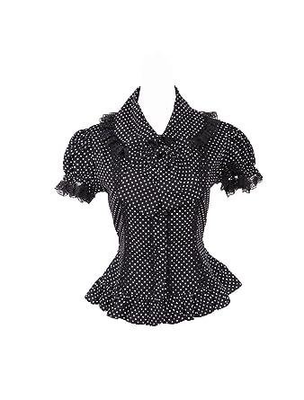 f0bb1dd33d850d antaina Schwarz Baumwolle Tupfen Rüsche Querbinder Sexy Lolita Beiläufig Hemd  Bluse: Amazon.de: Bekleidung