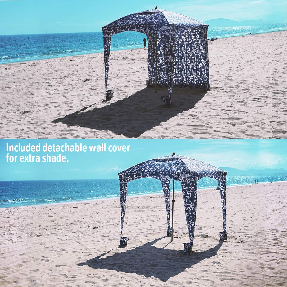 Qipi Beach Cabana – Easy to Set Up Canopy, Waterproof, Portable 6 x 6 Beach Shelter, Included Side Wall, Shade with UPF 50 UV Protection, Ultimate Sun Umbrella – for Kids, Family Friends