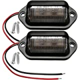 2PCS Amber Yellow LED License Plate Light, 12V-24V DC Waterproof 6-SMD License Plate Lamp Taillight, For Truck SUV…