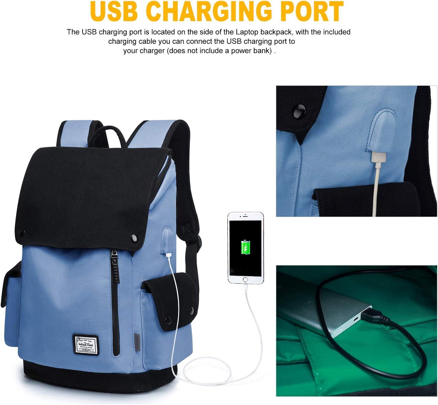 Wind Took Zaino Laptop Canvas Zaino portatile con porta USB Zaino Porta PC Impermeabile Zaino donna Unisex Zaini Sportivi da Casual Zaino scuola viaggio 15.6 pollice avorio