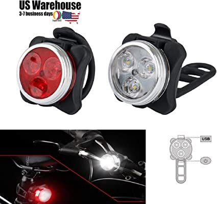 USB Rechargeable LED Bike Light Headlight Taillight Caution Bicycle Light Set US