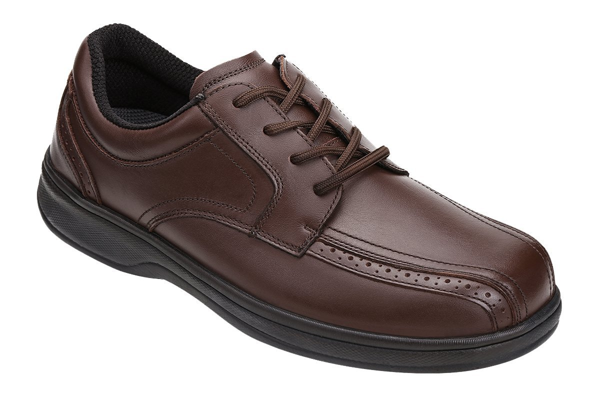 Orthofeet Gramercy Comfort Wide Diabetic Plantar Fasciitis Mens Orthopedic Dress Shoes Brown Leather 10.5 W US