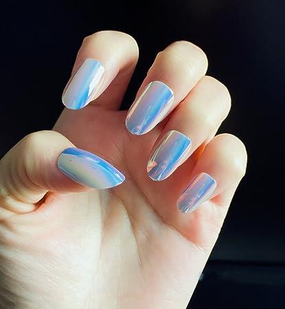 Amazon.com : YUNAI Oval Fake Nails with Shell Surface Colorful design False nail Tips : Beauty