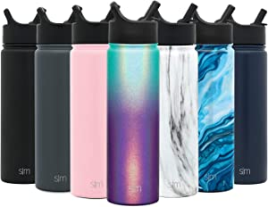 Simple Modern 22oz oz Summit Water Bottle with Straw Lid - Gifts for Men & Women Hydro Vacuum Insulated Flask Double Wall Liter - 18/8 Stainless Steel Shimmer: Aurora