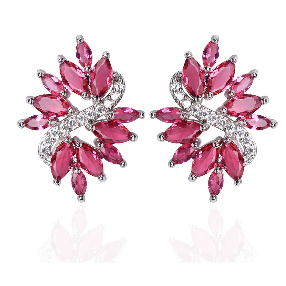 Cluster Crystal Teardrop Flower Design Stud Earrings Fine Jewelry for Women Valentines Day Gifts for Her
