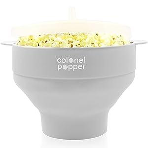 Colonel Popper Microwave Popcorn Popper Maker Hot Airpop Corn Bowl (Gray)