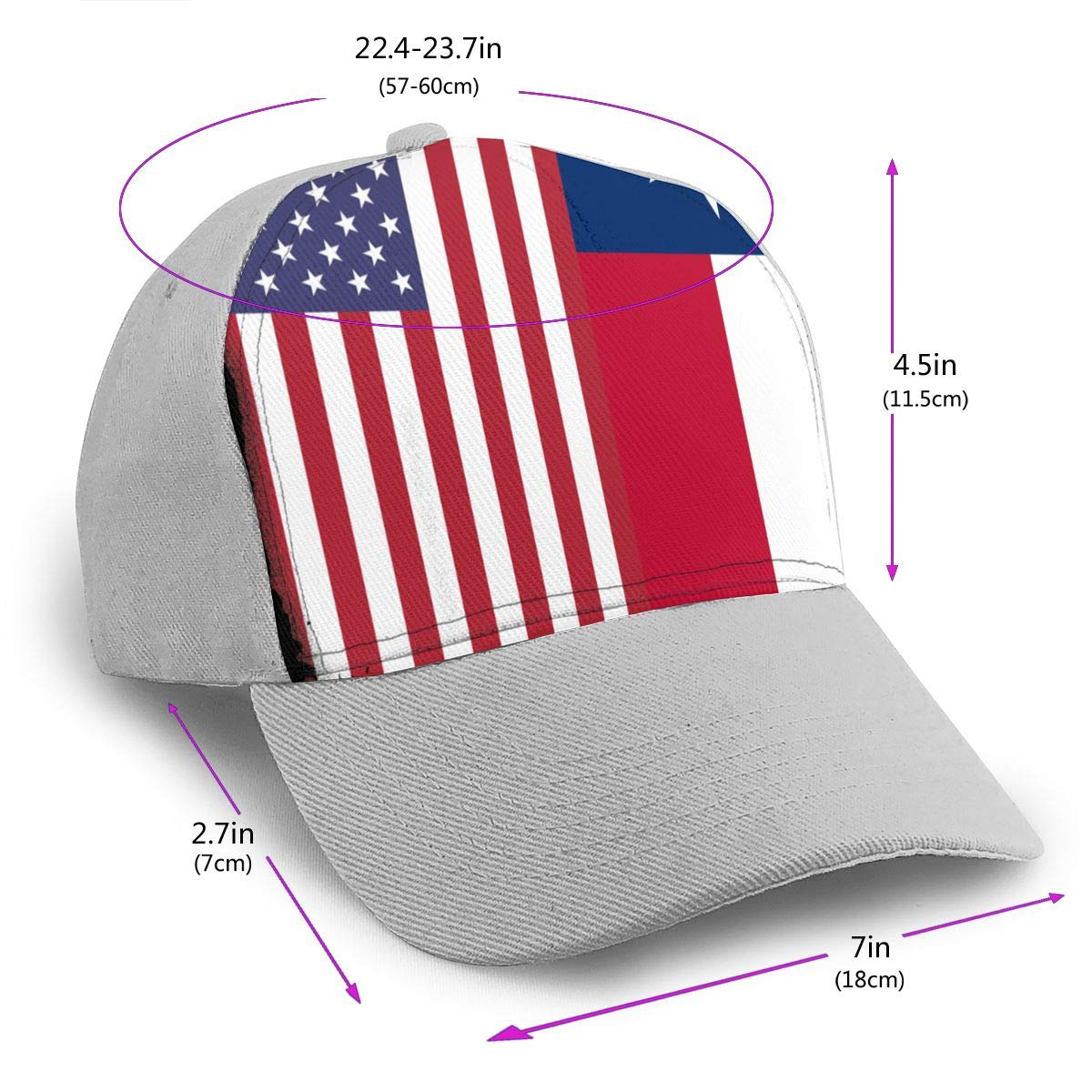 Y94OIW@MAO Texas Flag American Flag Peaked Cap for Unisex Cotton Sports Cap