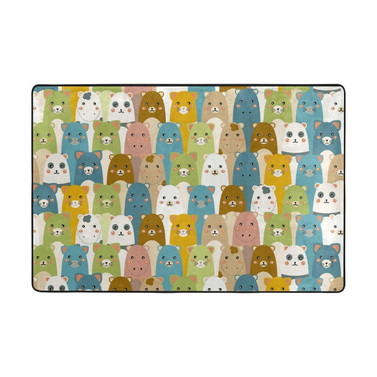 Top Carpenter Cute Animals Doodle Art Area Rug Pad - 72 x 48 inch - 100% Light Weight Polyester Fabric for Living - Bedroom