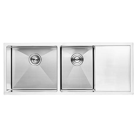 BAI 1255 Stainless Steel 16 Gauge Kitchen Sink Handmade 45-inch Undermount  Double Bowl with Drainboard