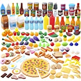 JOYIN 200 Pieces Kids Play Food Deluxe Pretend Play Food Set, Toy Food, Play Kitchen Accessories with Realistic Colors, Toddl