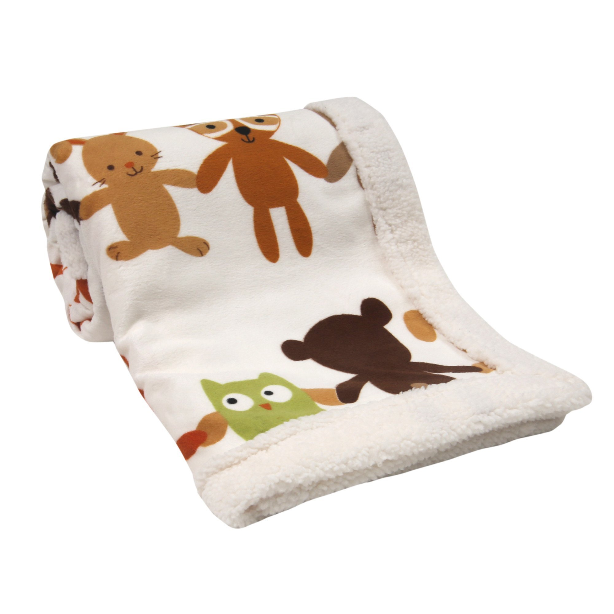 Lambs & Ivy Echo Cream/Multi Woodland Velour/Sherpa Blanket