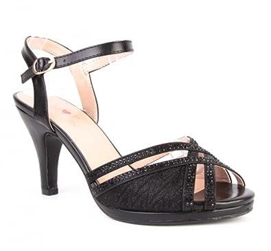 fdc60479d45d King Of Shoes Elegante Damen Hochzeit Riemchen Abend Sandaletten Pumps  Kleiner Absatz Stilettos 588  Amazon.de  Schuhe   Handtaschen