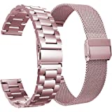 VIGOSS Metal Strap Compatible with Fitbit Versa 2 Band Women Stainless Steel Versa 2 Special Edition Bands + Loop Mesh Replacement for Fitbit Versa/Lite/Versa 2/Special Edition Smartwatch Rose Gold