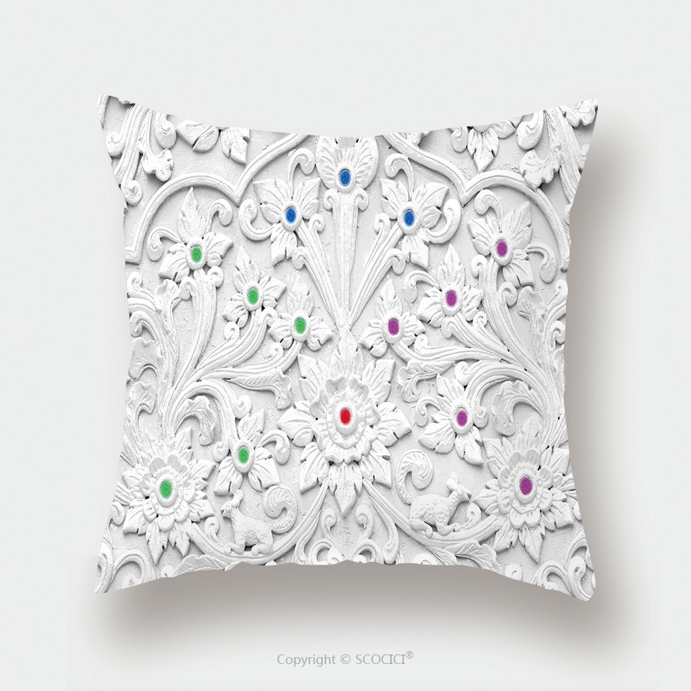Custom Satin Pillowcase Protector White Stucco Design Of Native Thai Style On The Wall 264728516 Pillow Case Covers Decorative by chaoran