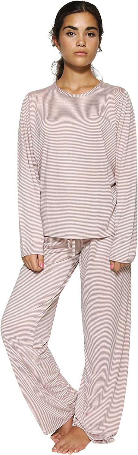 2 Pack Women/'s Pajama Set Super-Soft Short /& Long Sleeve Top with Pants
