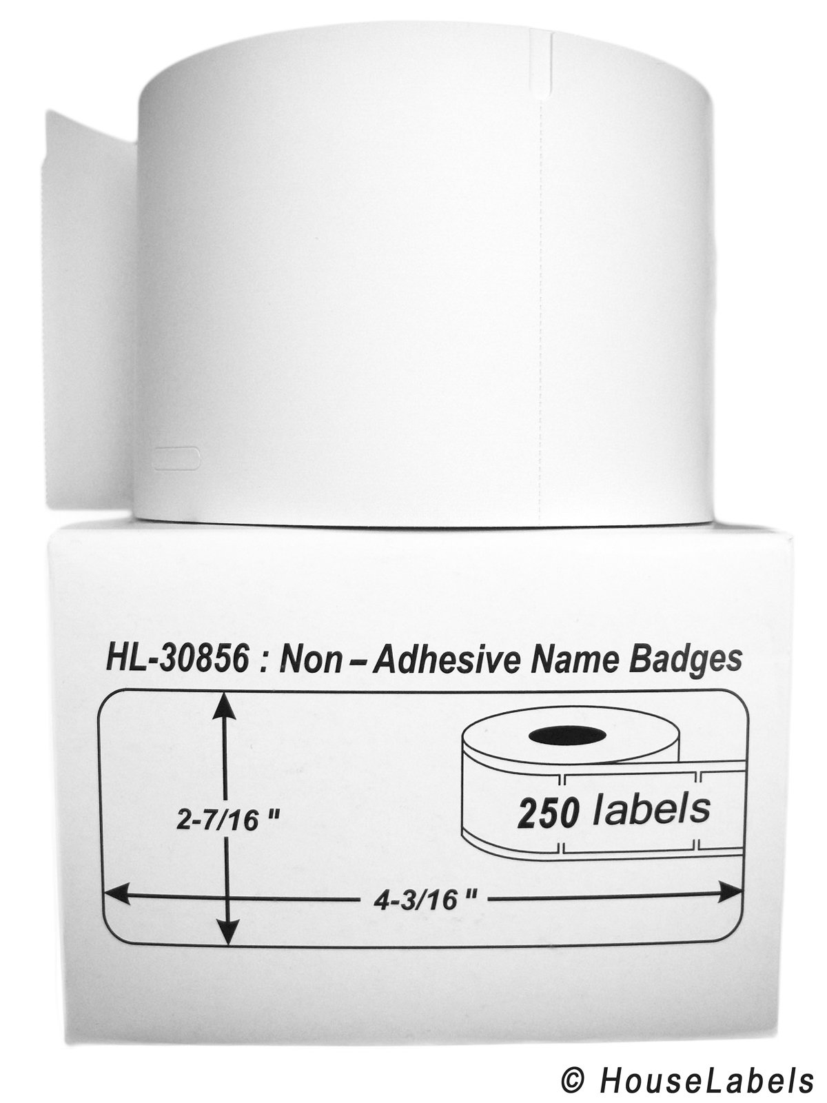 4 Rolls; 250 Labels per Roll of DYMO-Compatible 30856 Non-Adhesive Name Badges (2-7/16'' x 4-3/16'') - BPA Free! by HouseLabels