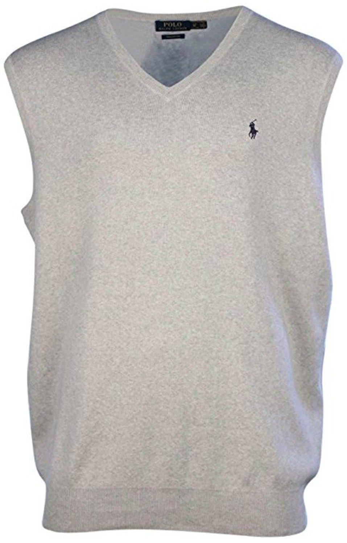Polo Ralph Lauren Mens Big & Tall Pima Cotton Sweater Vest (XLT Light Grey Heather)