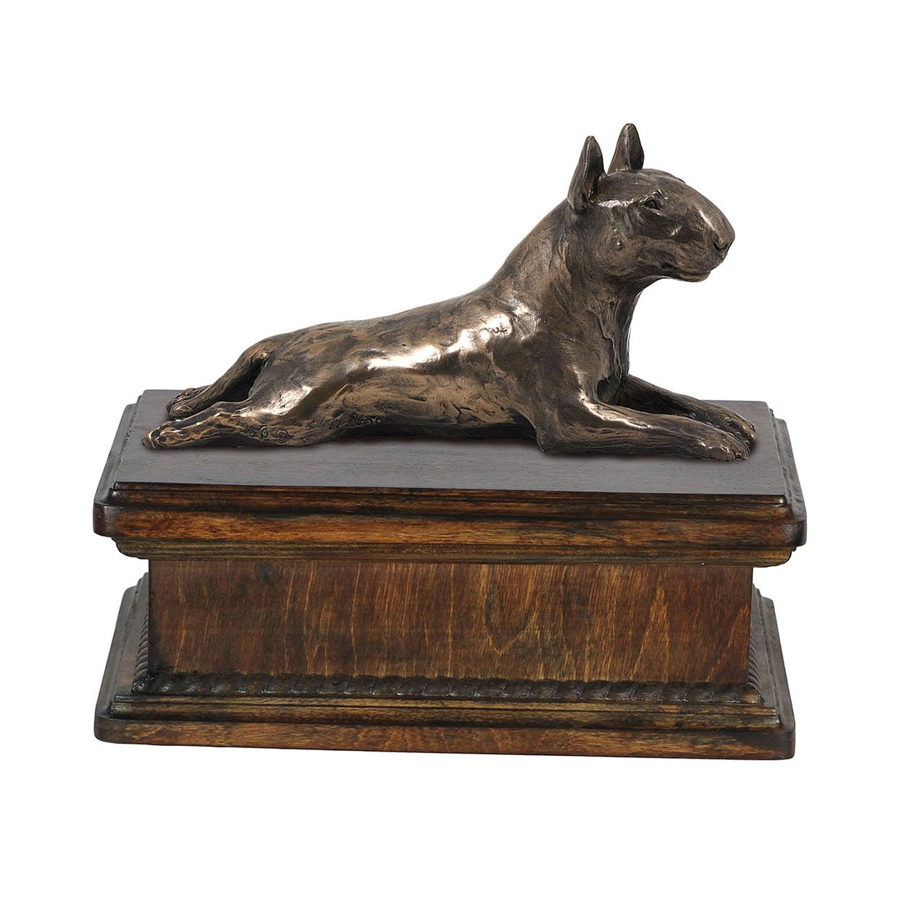 Bull Terrier (lying), memorial, urn for dog's ashes, with dog statue, exclusive, ArtDog