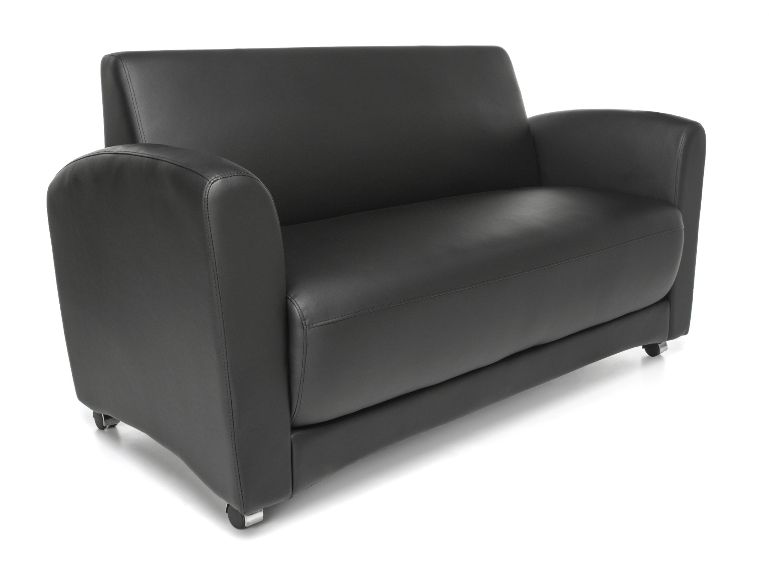 OFM InterPlay Series Upholstered Guest / Reception Sofa, Black