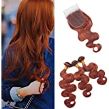 Amazon com : Color 33 Auburn Hair Bundles with Closure Light