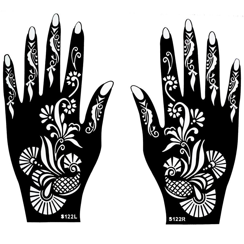 Lot de 2Pochoir Mehndi henné Designs Usage Unique S122pour main gauche et droit Convient également pour Glitter tattoo et Air Brush Tattoo Beyond