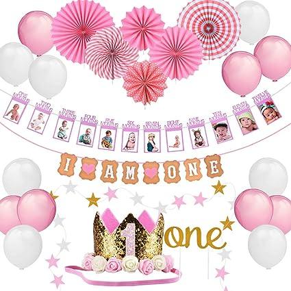 Geburtstagsdeko Und Foto Rahmen Girlande Mädchen 1 Jahr Geburtstag