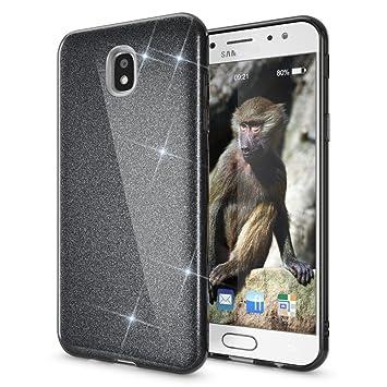 Coovertify Funda Purpurina Brillante Negra Samsung J5 2017, Carcasa Resistente de Gel Silicona con Brillo Negro para Samsung Galaxy J5 2017 (J530)