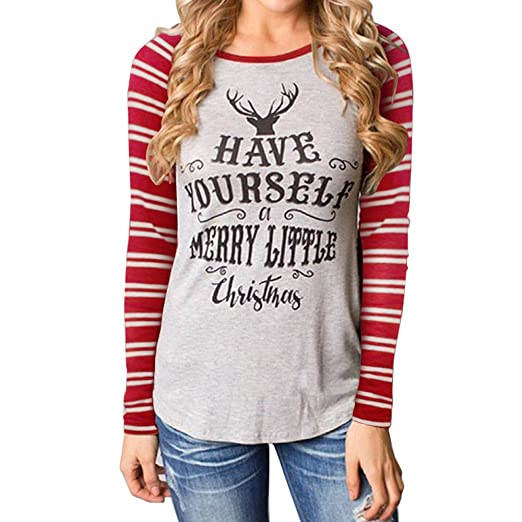 78f1c5ea9c0 Amazon.com  Women s Long Sleeve Reindeer Have Yourself a Merry Little  Christmas Printed Sweatshirt Blouse Top T-Shirts  Clothing
