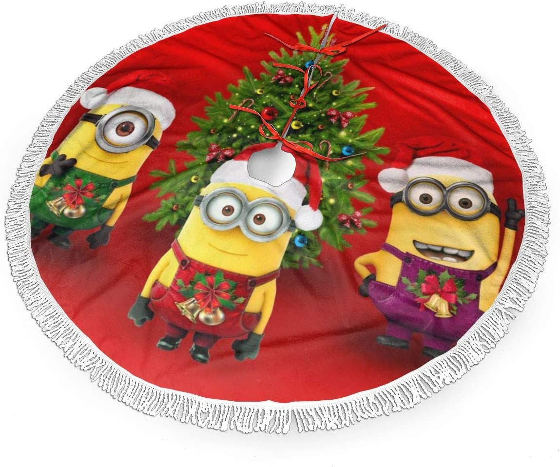 MERRYCHRIS Happy Time Despicable Me Minions Christmas Tree Skirt Decorations Tassel Snowman Xmas Party Holiday New Year Christmas Ornaments Fringed Lace 30 Inch