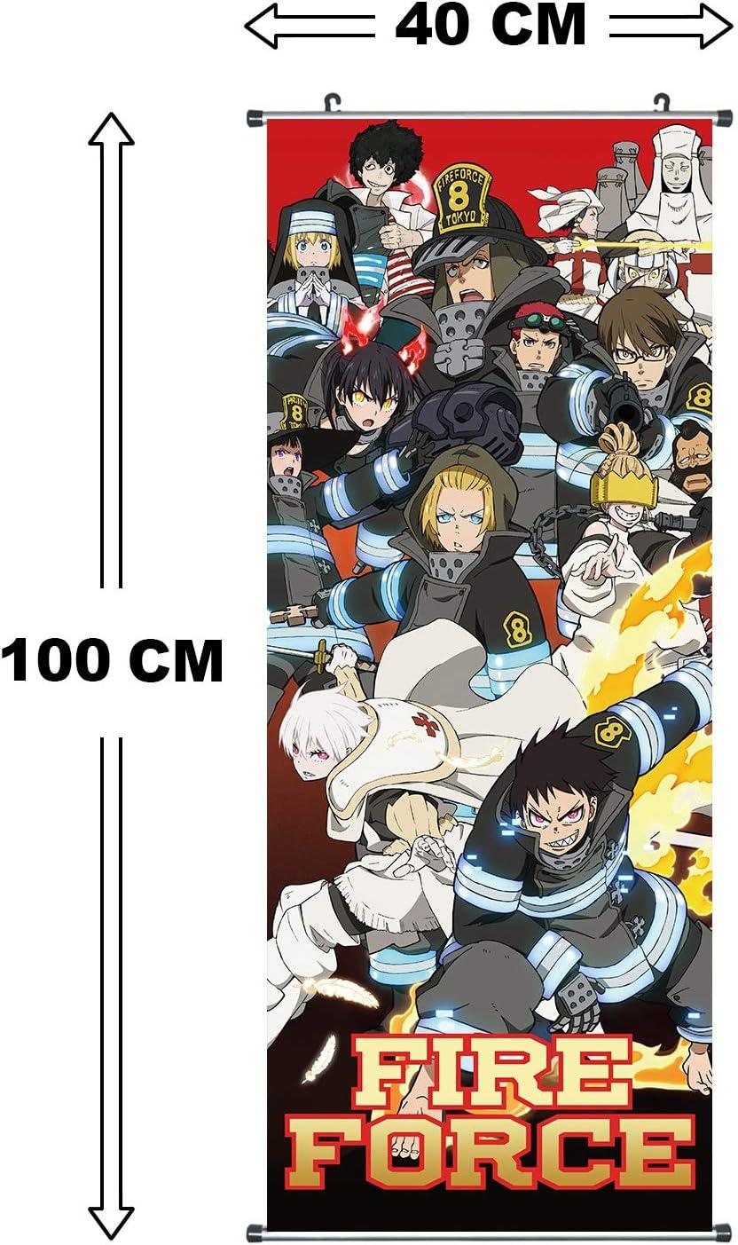 Shinra Kusakabe /& unit/é 8 100x40cm CoolChange Grand Poster en Rouleau //Kakemono de Fire Force Fait de Tissu